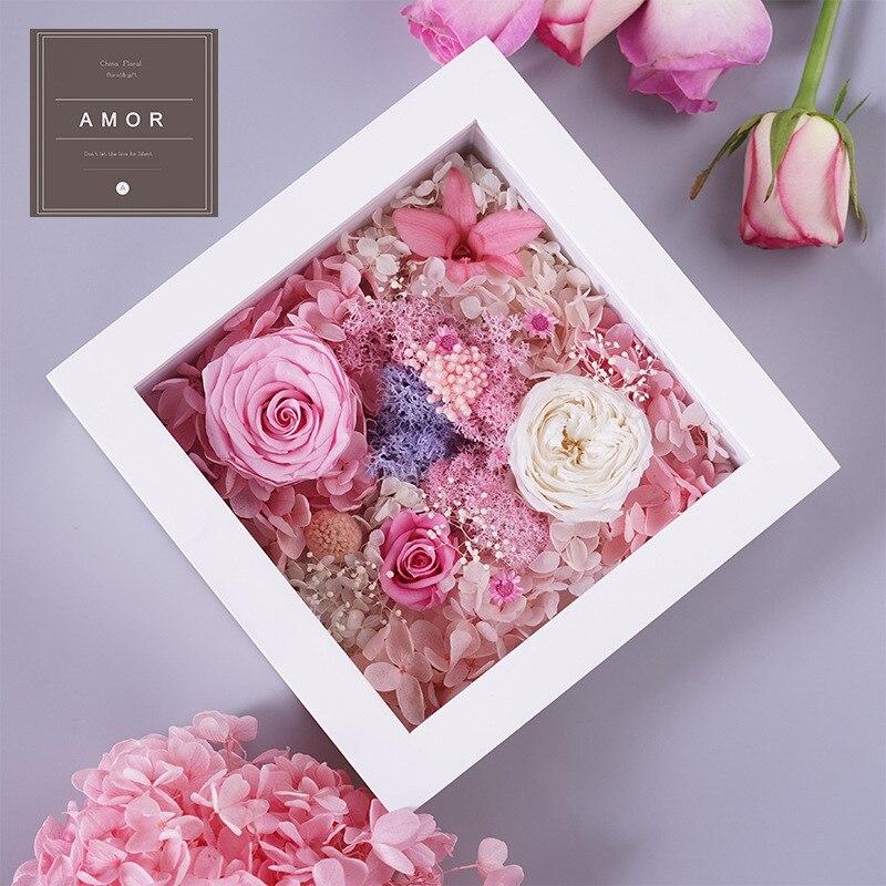 Rainbow Preserved Roses Real Fresh Flower Christmas Designed Gift Box Glass