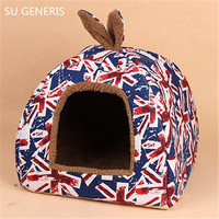 Dog kennel cat litter strawberry nest house heat preservation cotton nest can unpick and wash Pet supplies