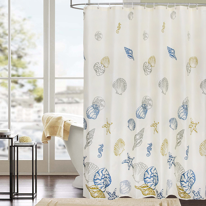 Multicolored Ocean Shell Pattern Bathroom Curtain Polyester High Quality Fabric Shower Curtains Thick Waterproof Bath Curtain