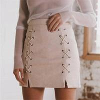 Autumn Lace Up Leather Suede Pencil Skirt Winter 2016 Cross High Waist Skirt Zipper Split Bodycon