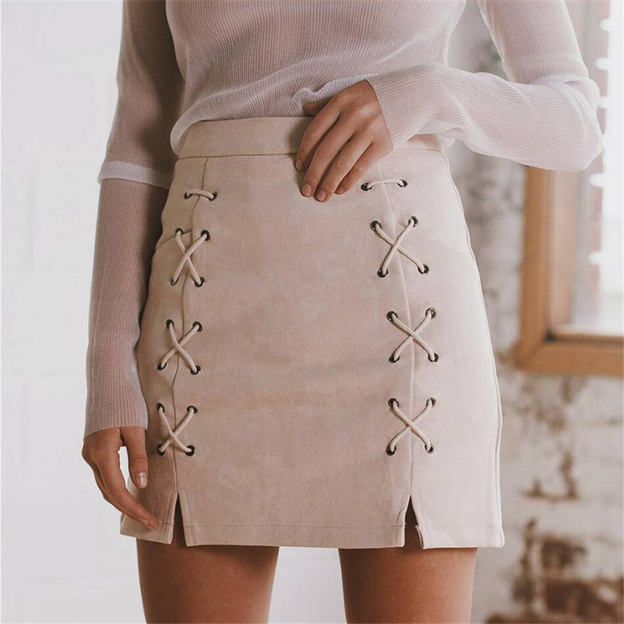 Autumn Lace Up Leather Suede Pencil Skirt Winter 2016 Cross High Waist Skirt Zipper Split Bodycon Short Skirts Womens Hot Sale