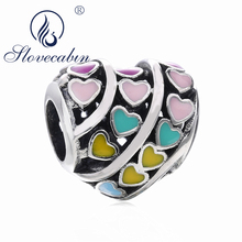 Slovecabin 2018 Spring Sneak Peek Heart Beads Fits Original Bracelet Colorful Enamel 925 Sterling Silver Heart Beads DIY Jewelry
