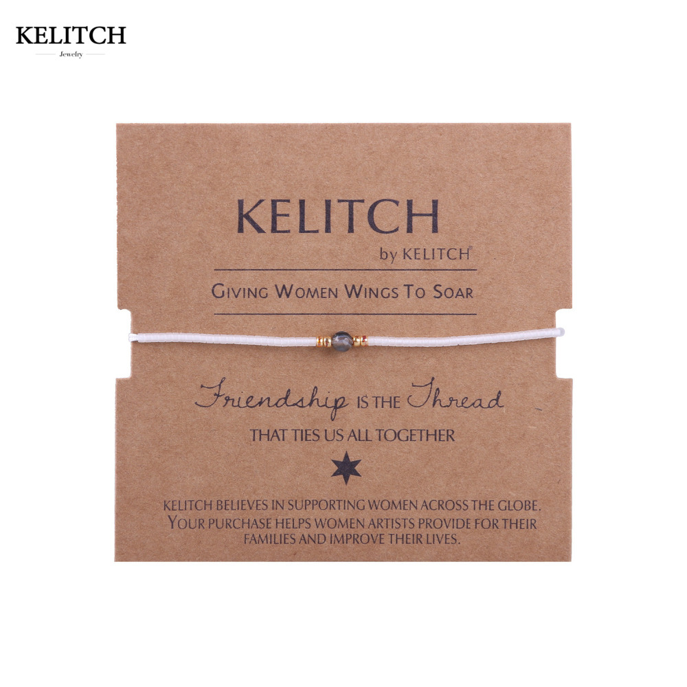 KELITCH Jewelry Pure White Crystal Beaded Summer Beach Travel Friendship Bracelet with Cardboard Bag Package For Friend Gifts