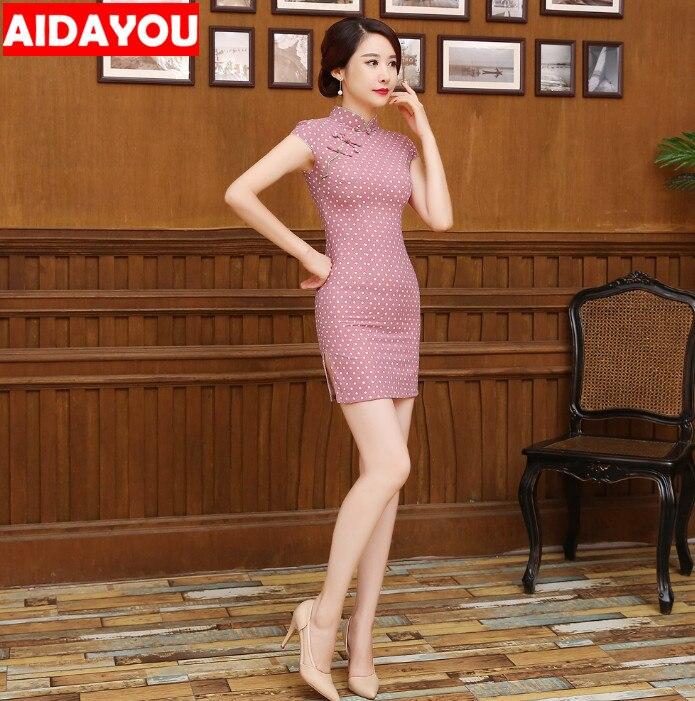 Womens Cotton Linen Qipao Dress Print Flower Chinese Cheongsam  Korean Pink Green Size S M L XL XXL Ouc525a