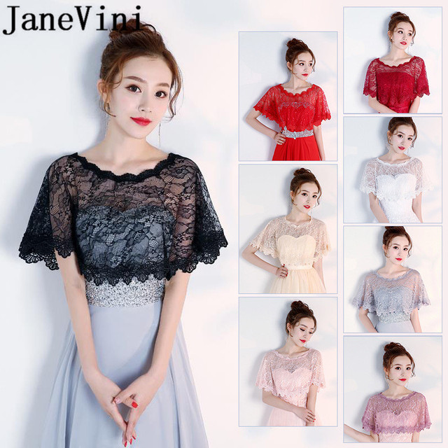 JaneVini Hot Selling Black Evening Shrug White Lace Bridal Wrap Boleros Cape Etole Mariage Women Short Wedding Bolero Jacket
