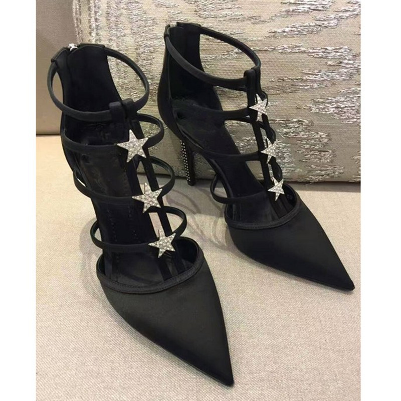 Noce Pompe Élégant Sexy Talons Feminino Show Femmes Zipper Sapato Chaude Sandales Femme Haute Chaussures Bling As Dames Noir Étoiles m0yNOvnw8