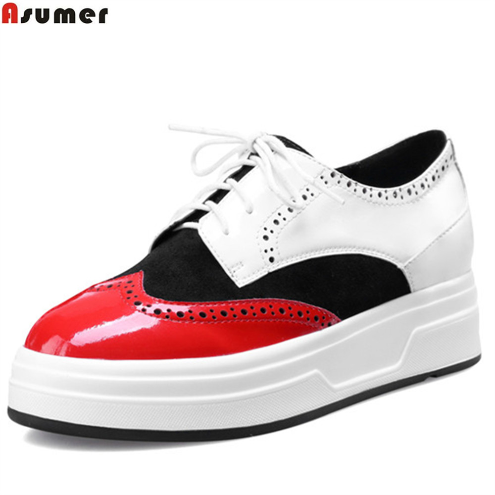 ASUMER black red fashion spring autumn flat shoes woman round toe lace up casual single shoes women leather flats beyarne women shoes fashion pointed toe slip on flat shoes woman comfortable single casual flats spring autumn size 35 41 zapato
