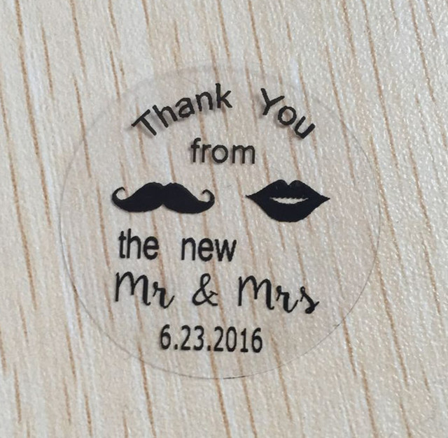 Personalised wedding stickers labels wine glass clear stickers 90 pieces 3cm custom thank you from mr