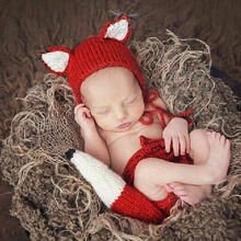 Newborn Baby Cute fox Crochet Knit Costume Prop Outfits Photo Photography Baby Hat Photo Props New born baby girls boy Outfits baby boy clothes newborn photography props cute newborn vest hat tieback set baby boy outfits newborns photo props accessories