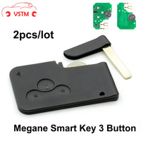 2pcs Top Quality Renault Megane Remote Key 3 Buttons Smart Card With Key Blade ID46 Chip