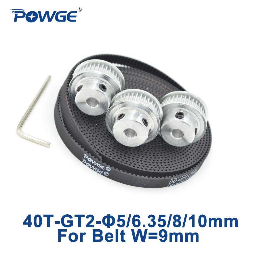 POWGE 3pcs 40 teeth GT2 Synchronous Pulley Bore 5mm 6.35mm 8mm 10mm + 5Meters width 9mm GT2  Timing Belt 2GT pulley 40T 40Teeth цена 2017