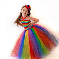 Flowers Girl Rainbow Tutu Dress Birthday Party Halloween Christmas Children Handmade Dress Spring Summer Clothing TS095