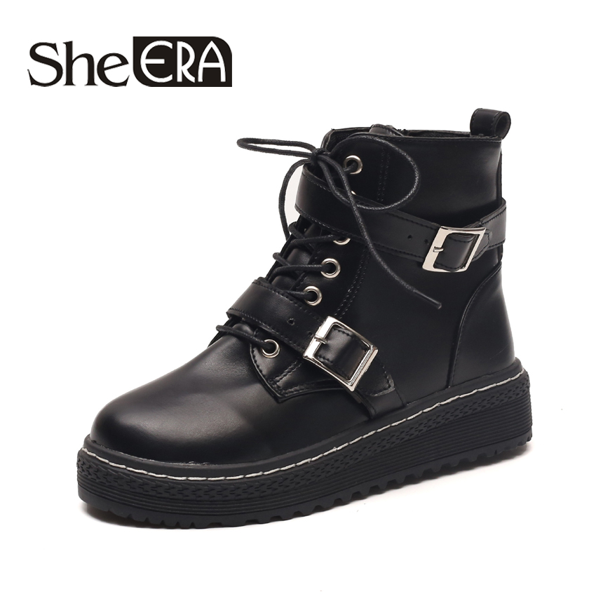 She Era 2017 New Women Boots Fall Rubber Women Ankle Boots Buckle Strap Creepers Casual Shoes Woman Women Flats Shoes #ERA340