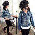 Fall 2016 New Girls Denim Jacket Korean Children Short Paragraph All-Match Cardigan Coats Kids Clothes Baby Girls Coats