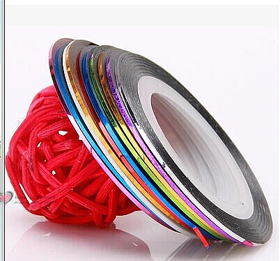 100Rolls/lot HOT DIY Terrific Mixed Nail Art Striping Line Glue Adhesive Tape Metallic Yarn Decoration Sticker wholesale 30pcs pack 2m mixed colors rolls 3d striping tape line diy nail art decoration sticker uv gel polish tips metallic yarn decal