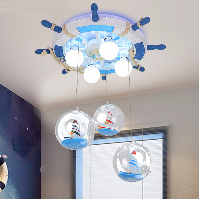 Mediterranean Style Remote Control Boat Rudder Light Children S Cartoon Led Pendant Lights Boy Bedroom Creative Lighting