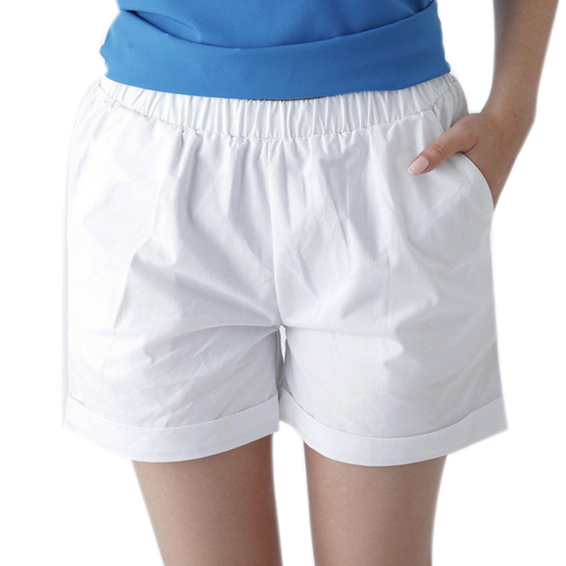Summer Women Cotton   Shorts   Casual Elastic Waist Candy Solid Color   Short   Pants NGD88
