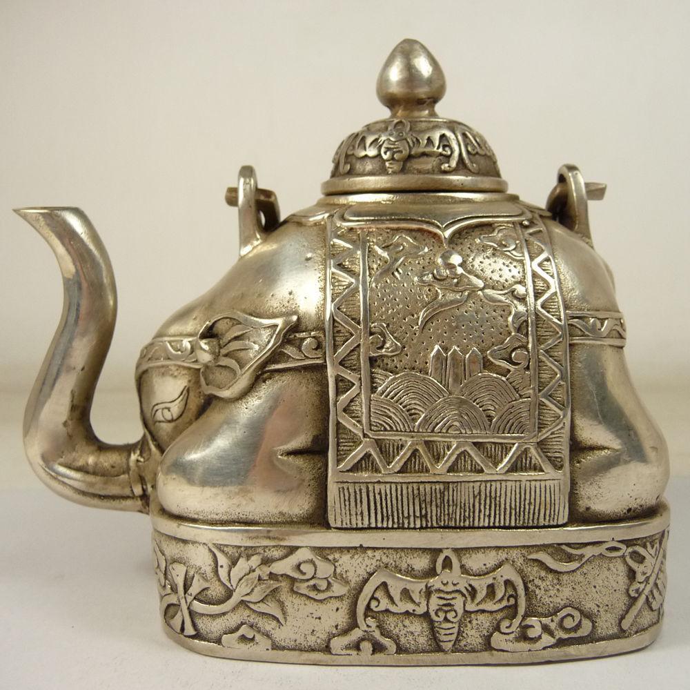 Chinese Tibet silver beautiful portable teapot