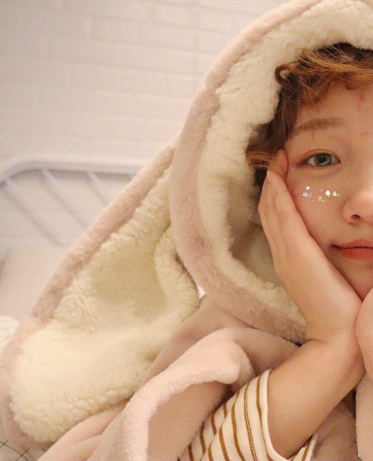 Cute Pink Comfy Blanket Sweatshirt Winter Warm Adults and Children Rabbit Ear Hooded Fleece Blanket Sleepwear Huge Bed Blankets 51