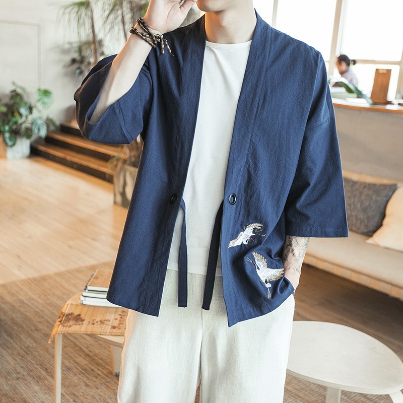 Helisopus Embroidery Chinese Han Dynasty Shirt Men Costume Traditional Shirts Kimono Harajuku Retro Male Loose Shirt
