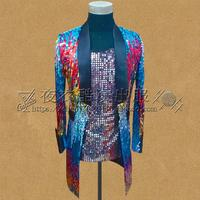 Long Dust Coat Sequin Style Sequins Men Blazers Stage Costumes For Male Singers Dancing DJ Suits Jacket Prom Party Fashion Suit