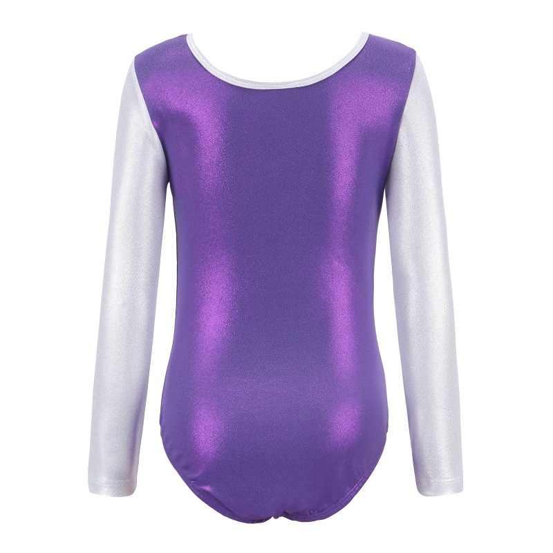 התעמלות Dancesuit בנות ארוך שרוול ריקוד בגדי גוף ילד פסים תחפושות לילדים בגדי גוף בלט חליפות בפועל פרו 5-12Y