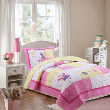 Kids Quilt Set 2pcs Embroidered Bedspread Applique Cotton Quilts Princess Pink Coverlet Twin Size Girls Bedding Bed Covers