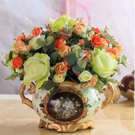 Europese stijl bloem decoratie, bloem kamer, valse bloem, potplanten, bloemstuk.