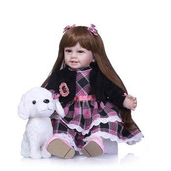 NPK 22''bébé poupée Silicone souple vinyle Adorable réaliste enfant en bas âge bébé Bonecas fille enfant Bebes Reborn poupées jouets pour les filles anniversaire