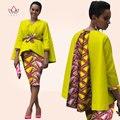 Nuevo Estilo de Vestir Bazin Riche Dashiki Materia Tradicional 100% Algodón de Dos piezas de Manga Larga Vestido de La Señora Africana de La Manera de Las Mujeres WY823