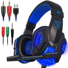 Gaming Headphone Stereo Surround LED Lights Gaming Headset Sound Noise Cancelling Wired Earphones With Mic for PS4 PC Xbox Gamer