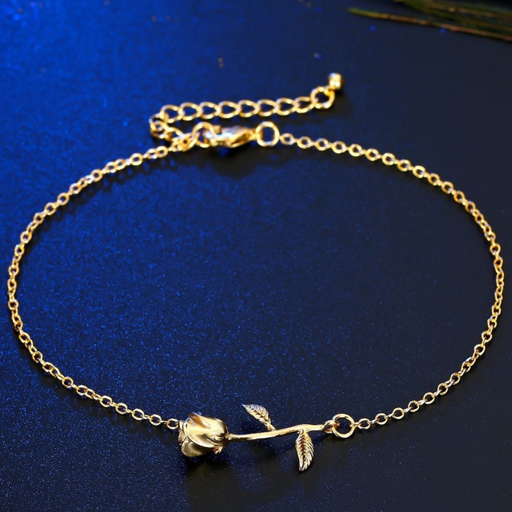 New Hot Rose Flower Pendant Anklets For Women Ankle Bracelet Foot Chain Jewelry Gold Silver Color