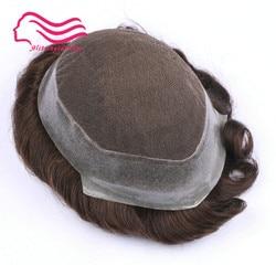 100% cabello humano remy hombres tupé, marca Australia, encaje francés con piel alrededor. Reemplazo de cabello, peluquín para hombre en stock