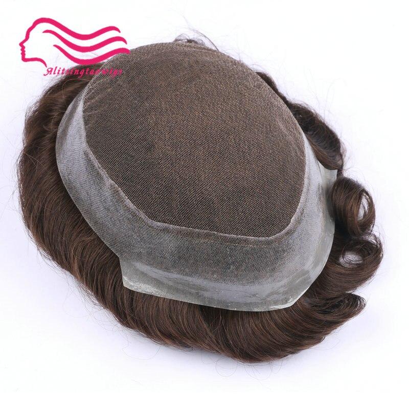 100% capelli remy umani di uomini toupee, australia, marca, merletto francese con la pelle intorno. sostituzione dei capelli, uomini capelli parrucchino in magazzino