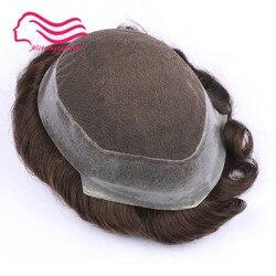 100% cheveux humains remy hommes toupet, marque australie, dentelle française avec peau autour. Remplacement de cheveux, cheveux hommes toupet en stock