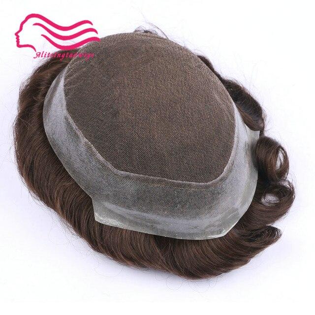 100% 인간 remy 머리 남자 toupee, 호주 상표, 주변에 피부를 가진 프랑스 레이스. 머리 보충, 주식에 있는 머리 남자 toupee