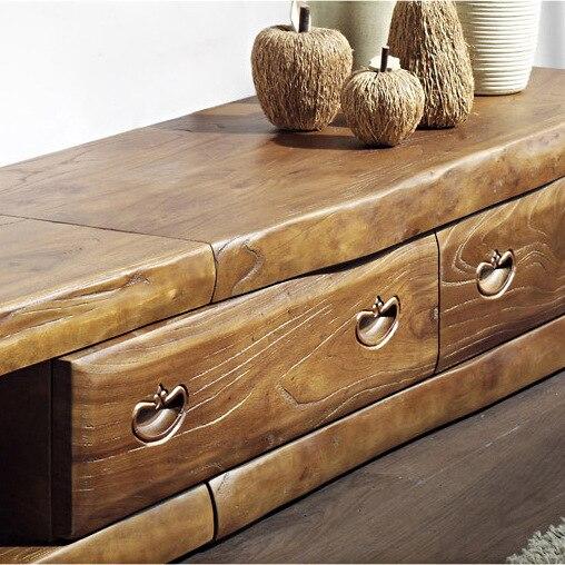 Korea Authentic Old Elm Long Tv Cabinet Solid Wood Antique Furniture