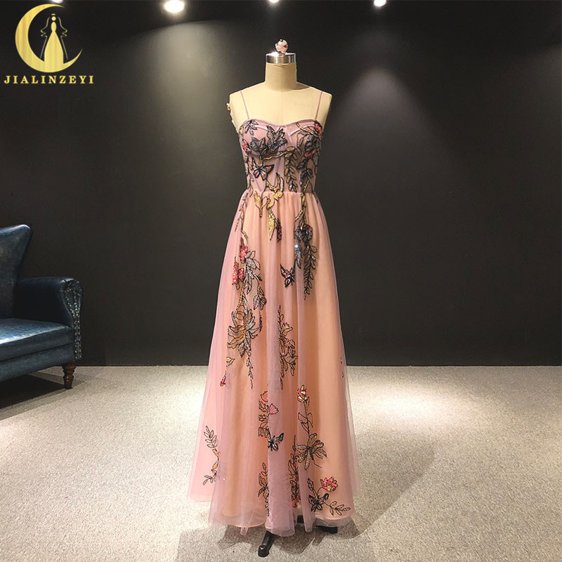 JIALINZEYI Real Picture Spaghetti Strap Pink Flowers Beads Floor Length Formal Dresses Party Evening Dresses