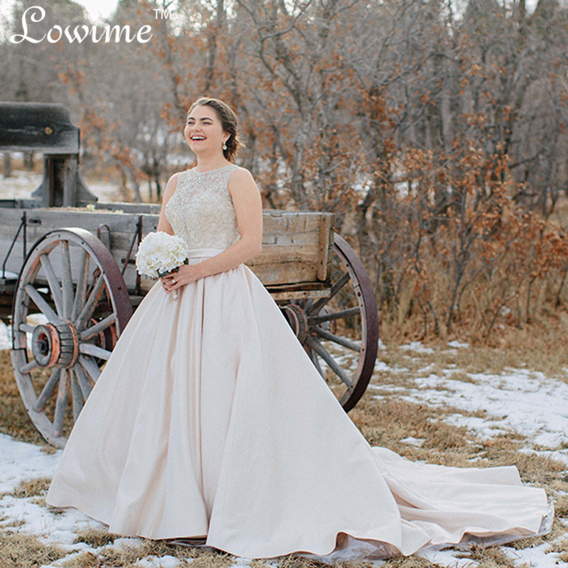 Bling Sheer Tank Fall Winter Wedding Dress Plus Size Satin Bridal Gown Beads Crystal Robe De Mariee Country Style Gowns In Dresses From