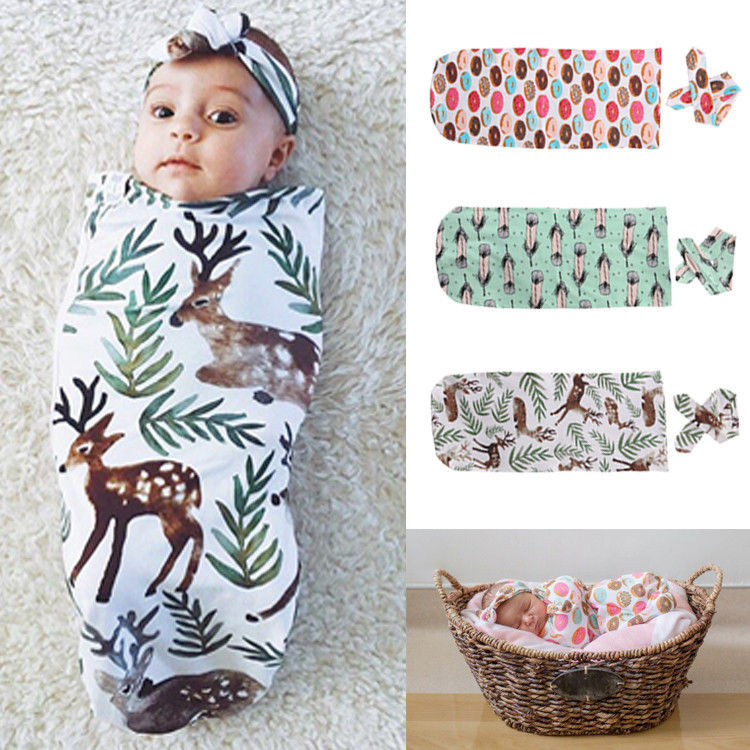 Newborn Baby Boys Girls Organic Cotton Blanket Headband Swaddle