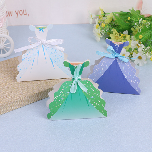 100pcs Princess Dress Candy Chocolate Box Boxes For Wedding Party ...