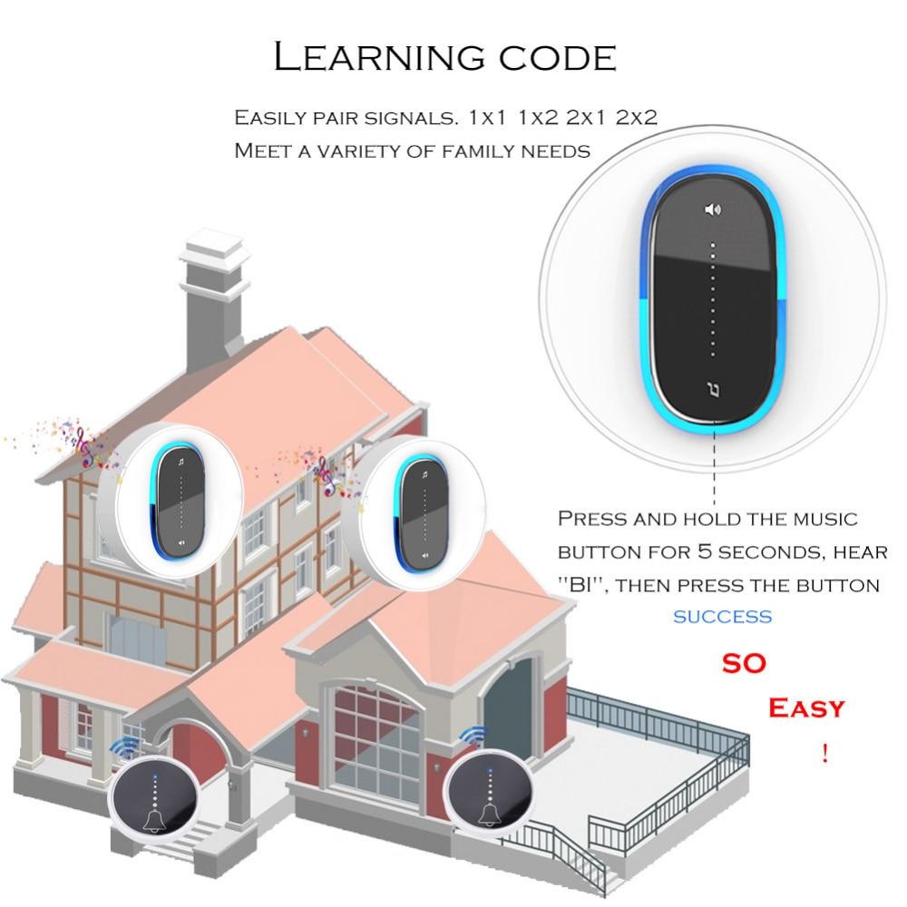 SMATRUL self powered Waterproof Wireless DoorBell night light no battery EU plug home Cordless Door Bell 1 2 button 1 2 Receiver 5