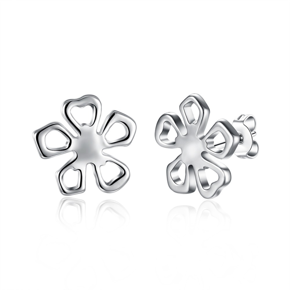 Fashion Stud Earrings Lucky silver colour Earrings Flower Stud Earrings for Women New Year Gift Simple Style Gril Accessories