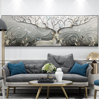 3D Sculpture Living Room Sofa Background Wall Decorative Painting Horizontal Version Of 3D Relief Painting Modern Resin Frame
