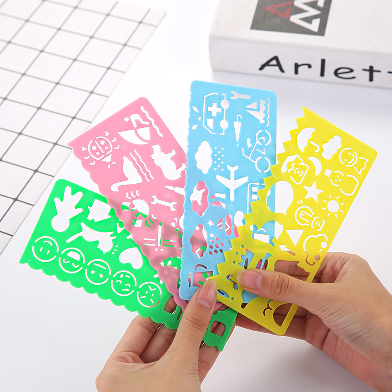 4 Pcs/lot Cute Stationery Ruler Drawing Template Kid's Toy Gift Stationery Supplies