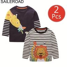 SAILEROAD 2Pcs Boys Long Sleeve Shirts Cotton Animal Print Girls Long Sleeve Shirts for Kids Clothes Autumn Children Shirt