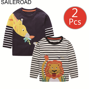 Image 1 - SAILEROAD 2Pcs בנים ארוך שרוול חולצות כותנה בעלי החיים הדפסת בנות ארוך שרוול חולצות לילדים בגדי סתיו ילדי חולצה