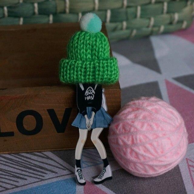 Donna sveglia bella Spilla Cappello di lana distintivo Spille Spilli Moda Spille per la Donna di Stile Harajuku Distintivi e Simboli Spilli Regali di Goccia- trasporto libero