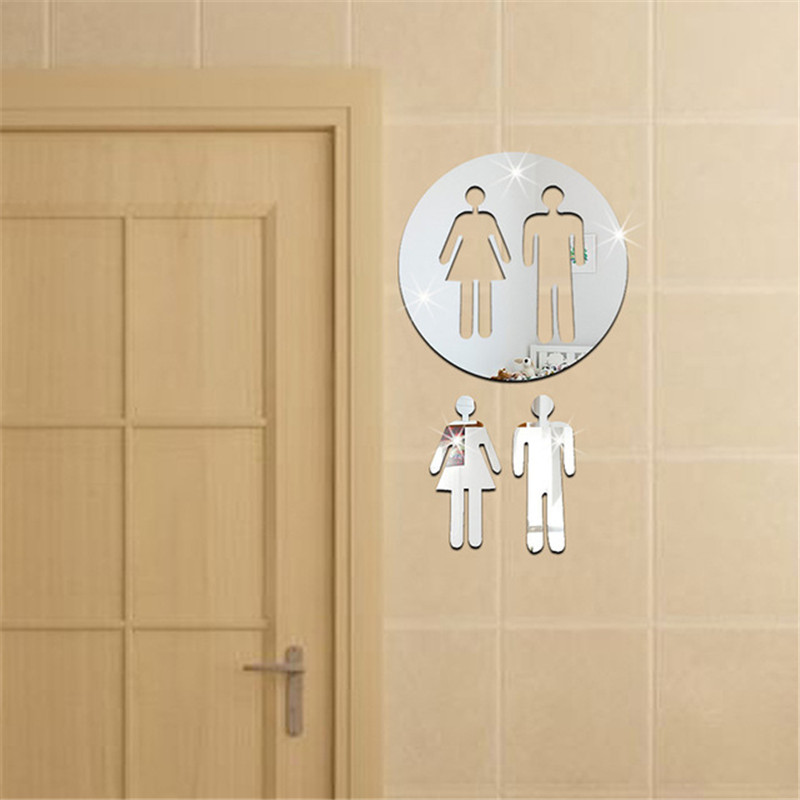 DIY Acrylic Mirror Wall Stickers Home Hotel Toilet Signs Bathroom Indicator New WC Home Decor 1 round disc + 2 persons Set