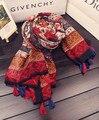 Чешский дизайн длинный красный шарф 2016 женщин осень зима boho хиппи долго печатных шарф глушитель кабо обруч шали